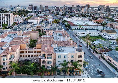 San Diego, Ca/usa - Circa January 2015: Colorful Sunset Against San Diego  Downtown