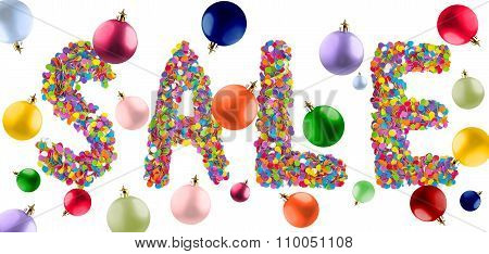 Word Sale Formed Of Colorful Confetti With Multicolored Christmas Balls.