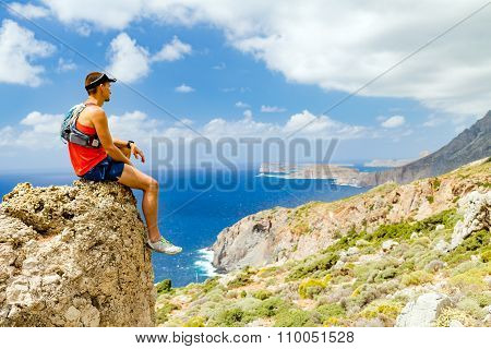 Hiking Man Looking At Inspirational View