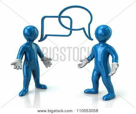 Two Blue Men Discussing