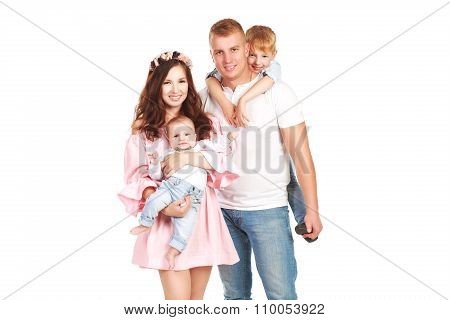 Beautiful happy family with two sons