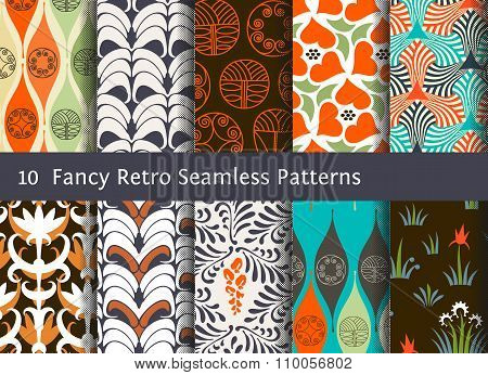 Abstract Seamless Patterns. Geometrical And Floral Ornamental Motifs. Retro Style Set