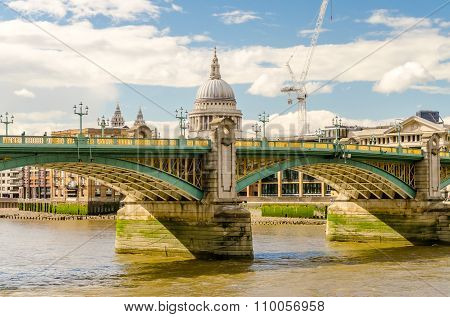 View Of St Paul Cathedral Over Southwark Bridge In London