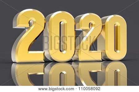 3D Isolated Gold 2020 Year