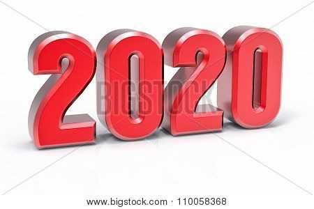 3D Isolated Red 2020 Year