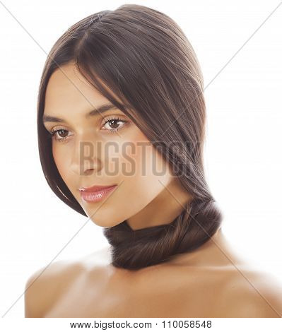 young fresh brunette tann girl with beauty hairstyle isolated on white close up, soft spa face
