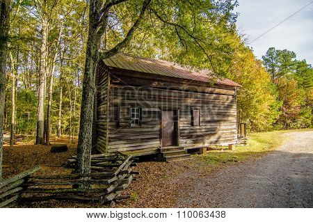 Historic Old Log Cabin In Brattonsville South Carolina