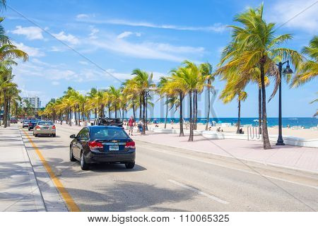 FORT LAUDERDALE,USA - AUGUST 11,2015 : View of the beach at Fort Lauderdale in Florida on a summer day