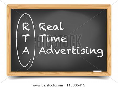 detailed illustration of a blackboard with Real Time Advertising text, eps10 vector, gradient mesh included