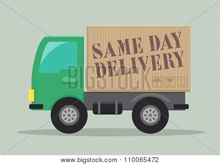 minimalistic illustration of a delivery truck with Same Day Delivery label, eps10 vector