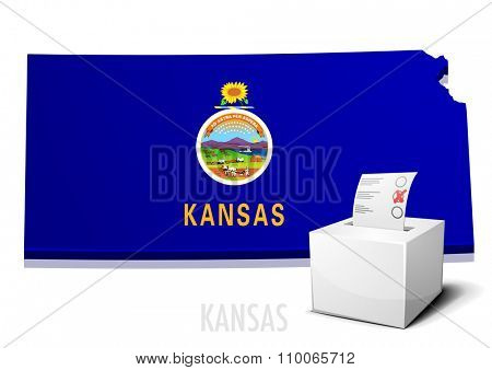 detailed illustration of a ballotbox in front of a map of Kansas, eps10 vector