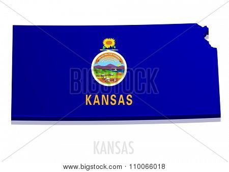 detailed illustration of a map of Kansas with flag, eps10 vector