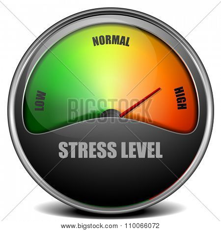 illustration of a Stress Level Meter gauge, eps 10 vector