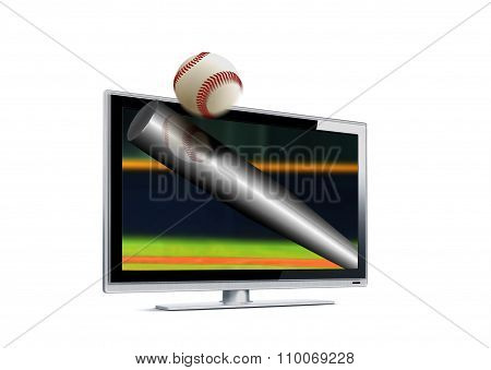 Baseball Hitting Ball Out From Lcd Screen