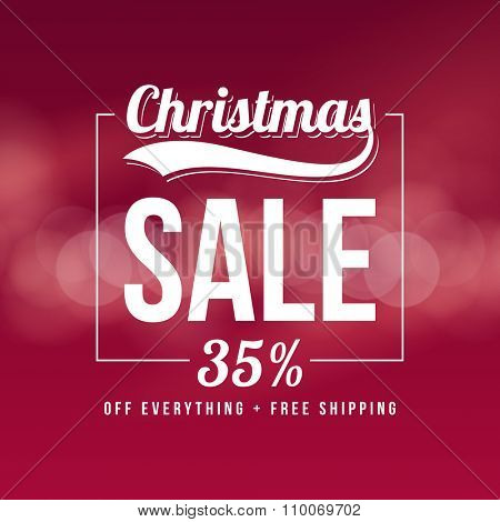 Christmas sale ad template. Retro style vector design on bokeh background.
