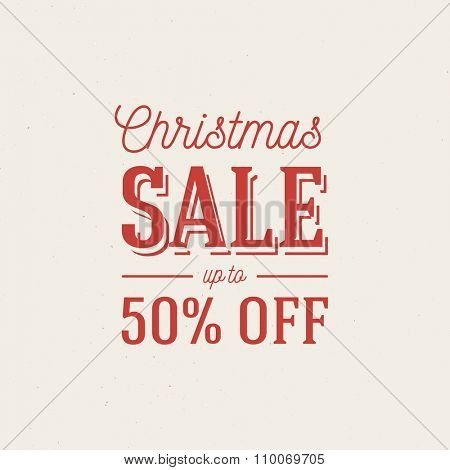 Christmas sale ad template. Retro style vector design on grunge background.