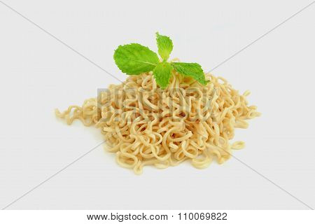 Pile Of Noodles With Mint Leaf