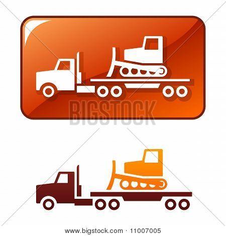 Truck delivers the bulldozer. Vector icon