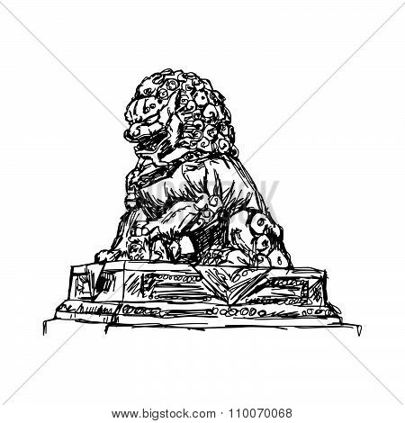 Illustration Vector Doodle Hand Drawn Of Sketch Big Bronze Lion In Forbidden City, China, Isolated O