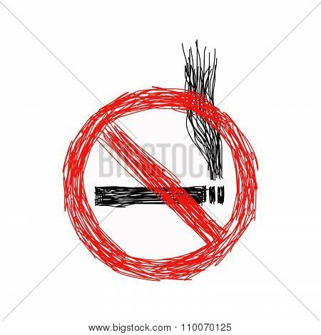 Illustration Vector Hand Drawn Doodles Of No Smoking Sign Isolated On White Background.