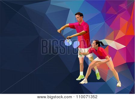 Badminton players mixed doubles team, man and woman start badminton game, vector badminton serve