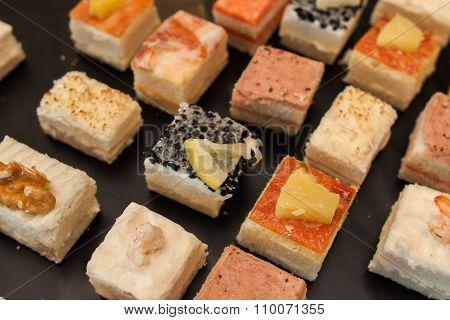 catering set of various canapés