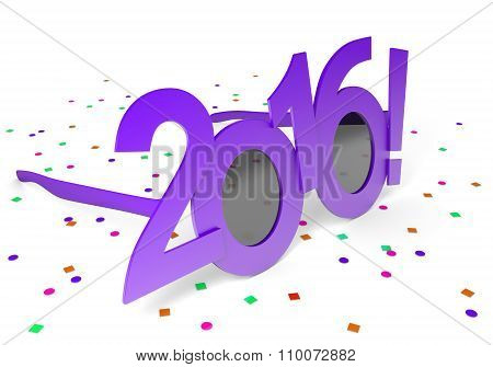 Purple 2016 glasses for celebrating the New Year holiday