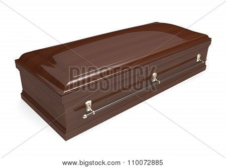 Closed wood coffin with carrying handles