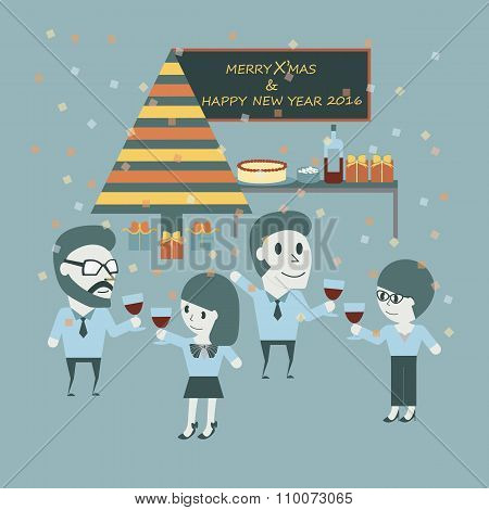 Working People Celebrate Christmas. Happy Concept With Important Holiday. Flat Illustration.