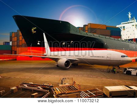 Air Freight ,cargo Plane Loading Trading Goods In Airport Container Parking Lot Use For Shipping And