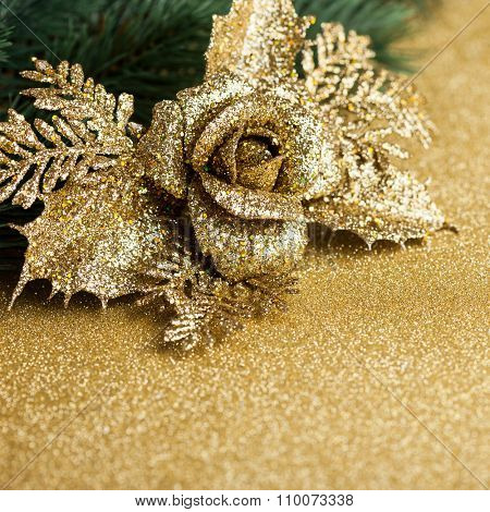 branch of Christmas tree with decoration rose