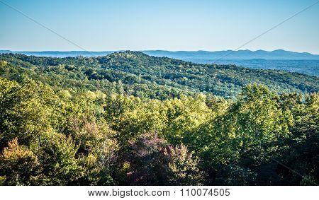Autumn Foliage On Blue Ridge Parkway Near Stone Mountain  North Carolina