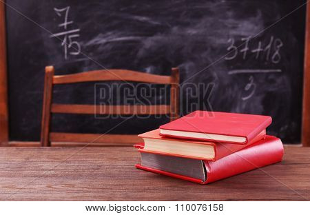 Few books on wooden table
