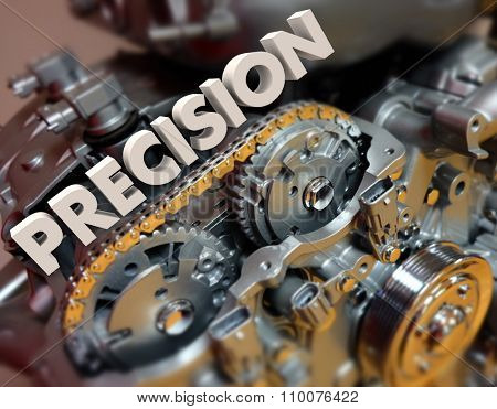 Precision word in 3d letters on engine gears to illustrate exact or perfect technology in modern motors and mechanisms