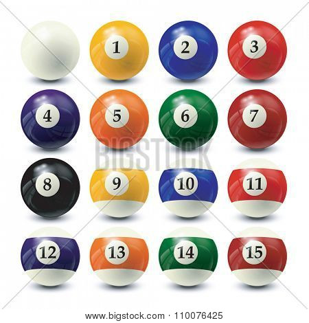 billiard balls set - realistic vector design