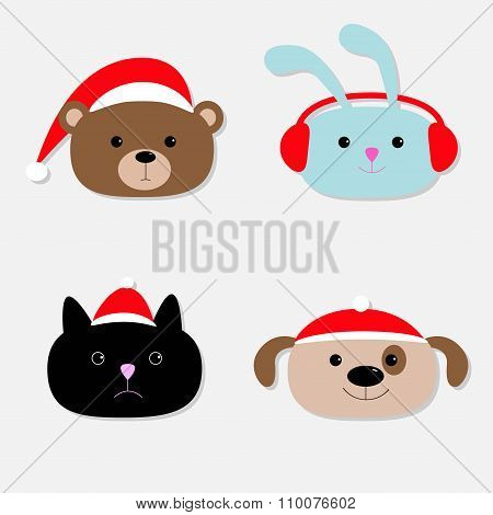 Animal Head Set. Cartoon Bear, Rabbit, Cat, Dog In Santa Claus Hat, Earphones. Flat Design.