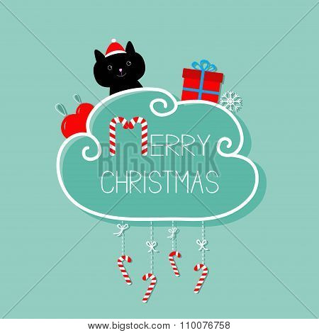Cat In Santa Hat, Giftbox, Snowflake, Ball. Merry Christmas Card. Hanging Candy Cane. Dash Line With