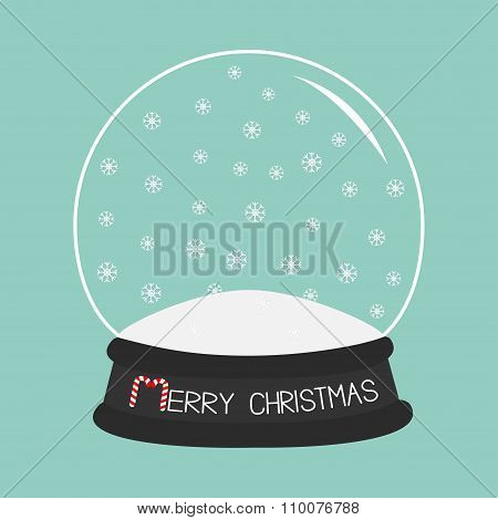 Empty Crystal Ball With Snowflakes. Template. Merry Christmas Card Flat Design Blue Background.