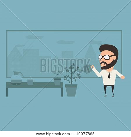 Delight In Office. Relaxation Concept On Work Day. Flat Illustration.