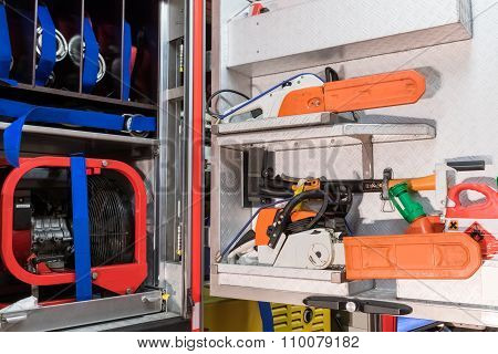 Interior view from a fire truck with tools
