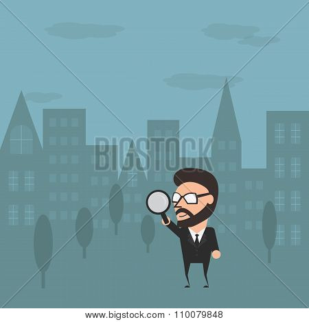 Businessman Go To Outdoor For Maketing Research. Conceptual Marketing Illustration Flat Design.