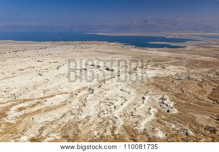 View Of Judaean Desert And Dead See From Masada. Israel.
