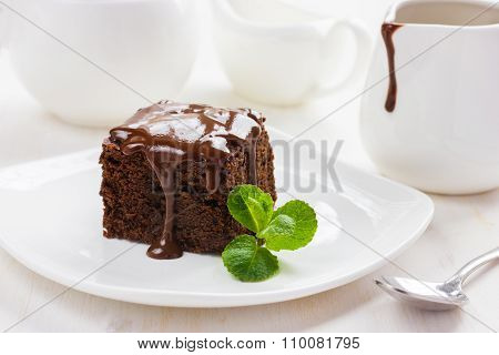 Chocolate Brownies On White Background