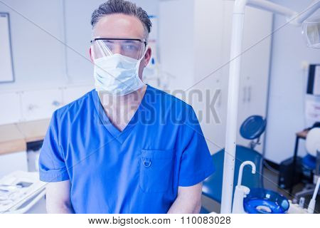 Dentist wearing surgical mask and safety glasses at dental clinic