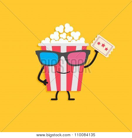 Popcorn Box In 3D Glasses. Character With Face, Legs And Hand Holding Ticket.