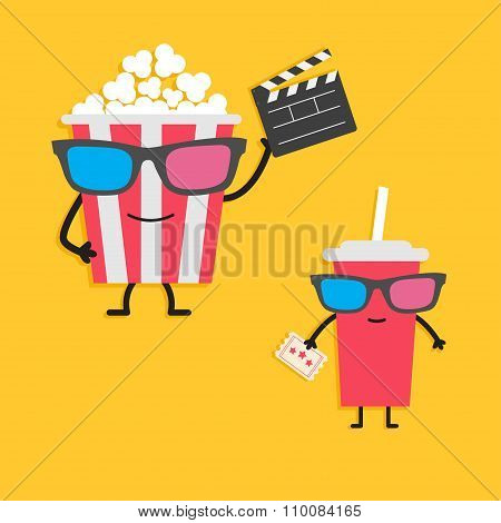 Popcorn Box And Soda Glass Characters In 3D Glasses Holding Clapper Board, Ticket. Cinema Icon Flat