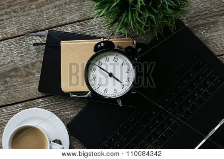 Concept. Old style alarm clock
