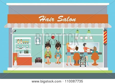 Hair Salon Building And Interior.