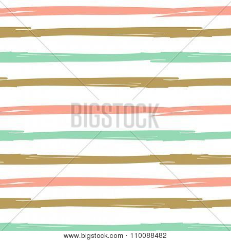 Hand drawn ink textured seamless striped background. White, gold and mint colors vector vintage background