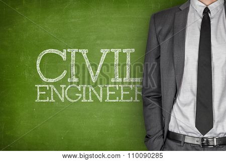Civil engineer on blackboard
